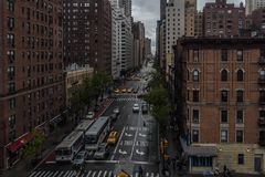 1st avenue view from the 59th street bridge while riding on a bus Royalty Free Stock Photography
