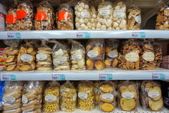 St AYGULF, VAR, PROVENCE, FRANCE, AUGUST 26 2016: Various cakes, cookies and biscuits on the shelves of a Provencal supermarket st royalty free stock images
