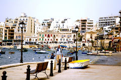 St. baía juliana, Malta. Foto de Stock Royalty Free
