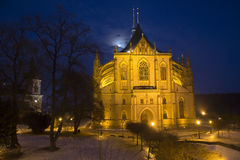 St Barbara cathedral in night Stock Photography