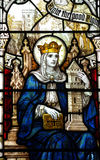 St Barbara i målat glass Royaltyfria Bilder