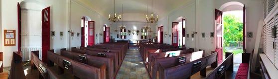 St Barth英国国教的教堂,里面, Gustavia,棕榈,船锚 免版税库存图片