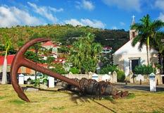 St Barth英国国教的教堂, Gustavia,棕榈,船锚 库存图片