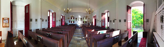 St Barth Anglican Church, inside, Gustavia, palms, anchor Royalty Free Stock Images