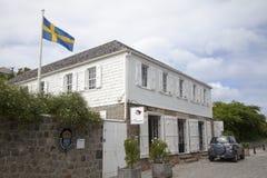 Zweeds consulaat in Gustavia, St Barths stock afbeelding