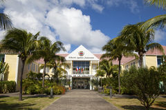 Hotel de la Collective, former Town Hall at St Barth, French West Indies. ST BARTH, FRENCH WEST INDIES - NOVEMBER 6: Hotel de la Collective, former Town Hall on royalty free stock image