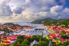 St. Barth`s in the Caribbean. Saint Barthelemy skyline and harbor in the West Indies of the Caribbean royalty free stock image