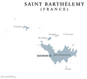 St Barthelemy politisk översikt royaltyfri illustrationer