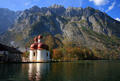 St. Bartholomä. At the Königssee Royalty Free Stock Photography