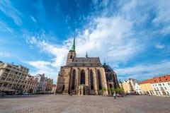 St Bartholomew Cathedral en Pilsen República Checa Foto de archivo