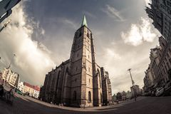 St. Bartholomew Cathedral at the main square of Plzen Pilsen. Royalty Free Stock Photography