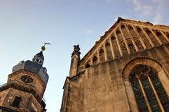 St. Bartholomew Church in Altenburg. Bartholomew Church in Altenburg from the worm's-eye view stock photography