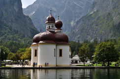 St. Bartholomew Church, Germany. St. Bartholomä is a Catholic pilgrimage church in the Berchtesgadener Land district of Bavaria in Germany. It named for Saint Royalty Free Stock Photo