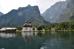 St. Bartholomew Church, Germany. St. Bartholomä is a Catholic pilgrimage church in the Berchtesgadener Land district of Bavaria in Germany. It named for Saint Royalty Free Stock Photography