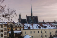 St. Bartholomew Church and Green Tower in Pardubice Stock Image
