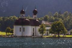 St. Bartholomew's church at Koenigssee lake near Berchtesgaden, Royalty Free Stock Photography