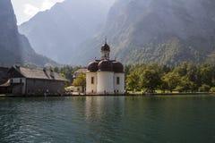 St. Bartholomew's church at Koenigssee lake near Berchtesgaden, Royalty Free Stock Photos