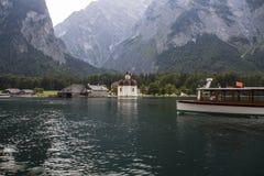 St. Bartholomew's church at Koenigssee lake near Berchtesgaden, Stock Image