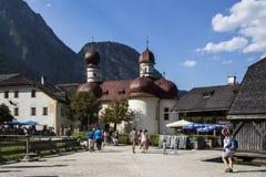 St. Bartholomew's church at Koenigssee lake near Berchtesgaden, Royalty Free Stock Images