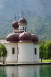 St Bartholomew's Church, Konigssee - Germany. St. Bartholomä (Saint Bartholomew the Apostle (Bartholomäus in German)) is a Catholic pilgrimage church in the Royalty Free Stock Photo