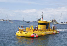 Yellow submarine in Gustavia marina, St. Barths Royalty Free Stock Photos
