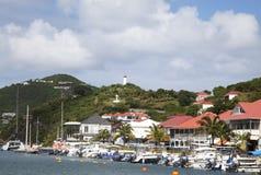 Lungomare al porto di Gustavia alla st Barths, francese le Antille Fotografie Stock