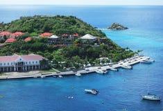 Gustavia hamn, St. Barths, franska västra Indies Arkivfoton