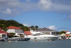 Luxury boats in Gustavia Harbor at St Barths, French West Indies Royalty Free Stock Photography