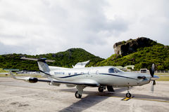 Tradewind Aviation Pilatus PC-12s aircraft ready to take off at St Barths airport. Royalty Free Stock Photo