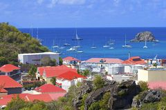 St Barths and Gustavia views, Caribbean Royalty Free Stock Image