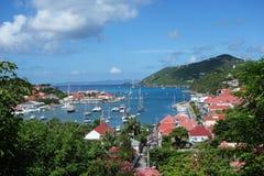 Gustavia港口,圣Barths,法语印度西部 图库摄影