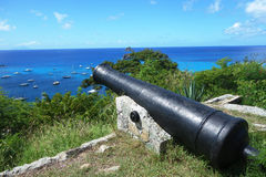 Old cannon on top of Gustavia Harbor, St. Barths, French West indies Stock Image