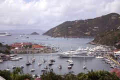St Barts Harbor. Gustavia Town Harbor in St Barts French West Indies stock photography