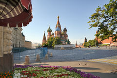 St. Basil's Cathedral in Early Summer Morning Stock Images