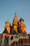 St. Basil Cathedral. The most famous architectural composition of Russia - in the lights of sunset Royalty Free Stock Image