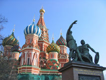 St. Basil Cathedral. On Red square in Moscow stock images