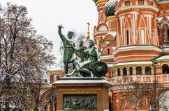 St. Basil Cathedral auf Winter in Moskau, Russland Lizenzfreies Stockbild