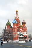 St. Basil Cathedral and monument to Minin and Pozharsky on the Red Square in Moscow in winter. Stock Images