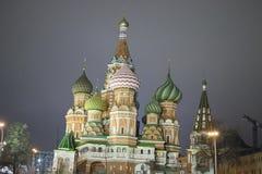 St Basil Cathedral, Moscou Kremlin, nuit Photos libres de droits