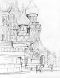 St. Basil Cathedral in Moscow. St. Basil Cathedral on Red Square in Moscow, Russian Federation. Drawing Royalty Free Stock Photography