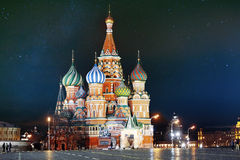 St. Basil Cathedral, Moscow Kremlin, Night Royalty Free Stock Photos