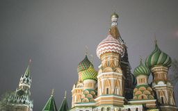 St. Basil Cathedral, Moscow Kremlin, night stock image