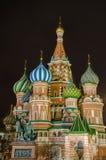 St. Basil Cathedral nachts, Moskau, Russland Stockfotografie