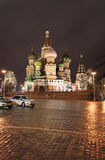 St.Basil Cathedral by night in Moscow Stock Photography
