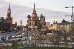 St. Basil Cathedral at Night -- view from new Zaryadye Park, urban park located near Red Square in Moscow, Russia Royalty Free Stock Photos
