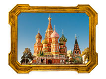 St Basil Cathedral in an old golden frame Stock Image