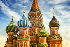 St. Basil Cathedral. Red Square, Moscow, close up view on cupola at the sunny day Royalty Free Stock Image