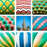 St. Basil Cathedral. Red Square in Moscow, Russia. Saint Basil Cathedral on Red Square in Russia. Collage photo of church and its domes. Close up view of domes Royalty Free Stock Image