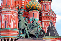 St. Basil Cathedral, Red Square, Moscow, Russia. Monument to Minin and Pozharsky and St. Basil Cathedral, Red Square, Moscow, Russia. UNESCO World Heritage Site Stock Photos