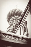 St. Basil Cathedral, Red Square, Moscow, Russia. UNESCO World He. Ritage Site. Vintage style sepia photo Royalty Free Stock Photography